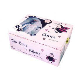 Boite à Bijoux Fille Coccinelles Rose et Noir