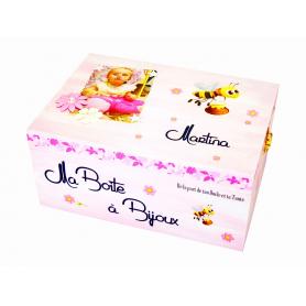 Boite à Bijoux Abeille et Fleurs Rose et Jaune - personnalisable