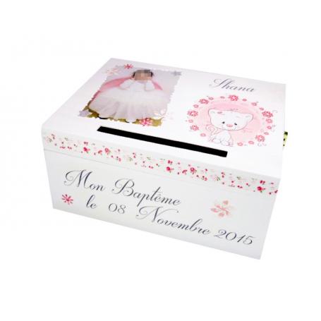 Urne De Bapteme Fille Deco Chaton Rose Et Blanc