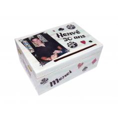 Tirelire Anniversaire en bois thème Poker