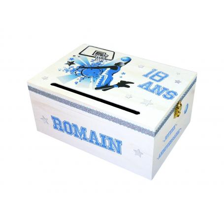 Urne Anniversaire en bois Thème Sport Basket Bleu et blanc