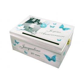 Tirelire Anniversaire Adulte Thème Papillons bleu et gris