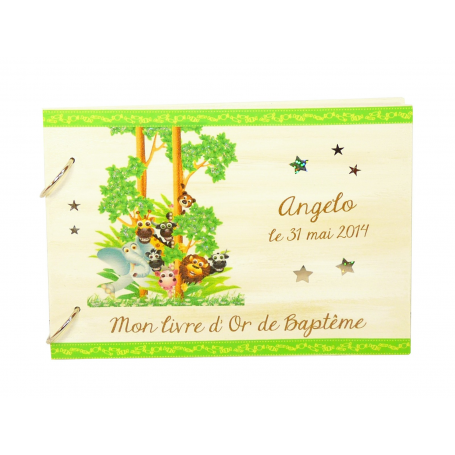 Livre d'Or de Baptême Déco Jungle Vert Anis