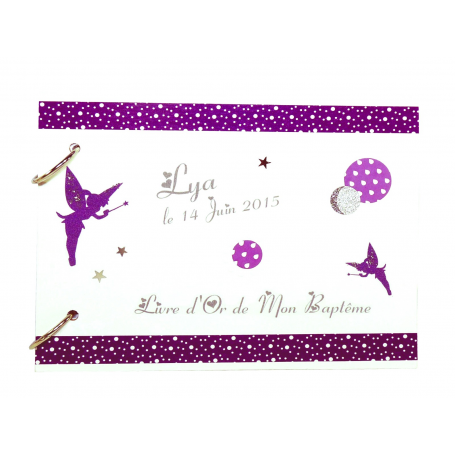 Livre d'Or de Baptême fille thème Fées violet et blanc