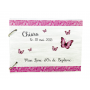 Livre d'Or en Bois Baptême Thème Papillons rose et gris