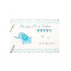 Livre d'Or Baptême éléphant avec étoiles Bleu et Blanc