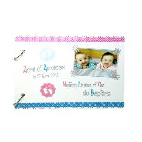 Livre d'Or Baptême Thème Petits Pieds jumeaux fille et garçon rose et bleu