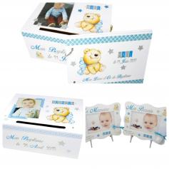 Pack Déco Baptême Thème Ours et Etoiles Bleu Blanc