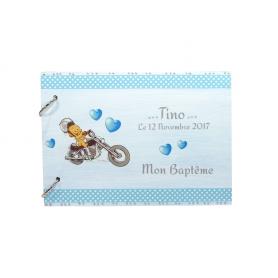 Livre d'Or Baptême Déco Moto Bébé Blanc et Bleu