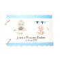Livre d'Or en Bois Baptême Thème Bébé Garçon bleu et blanc