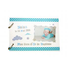 Livre d'Or Baptême Nuages Bleu et Blanc