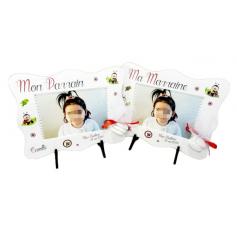 Cadre Photo cadeau Baptême Fille Déco Coccinelles Rouge et Blanc