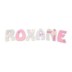 Lettres de Porte en bois déco Fille Rose pastel et Gris