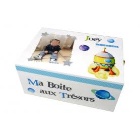 Boite à Souvenirs Enfant Déco Fusée Blanc, Vert Anis et Bleu