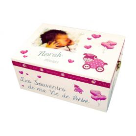 Coffret Souvenirs Bébé thème Moutons Rose Blanc