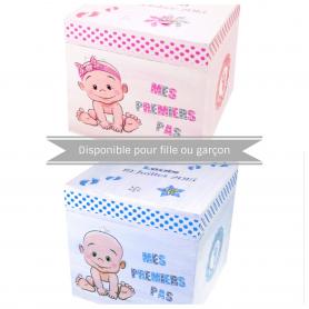 Boite Souvenirs Cubique Naissance Bébé Prénom Taille Poids Rose ou bleu