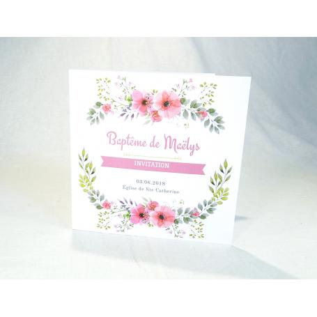 Faire-Part Baptême Fille Thème Floral Rose et Blanc extérieur