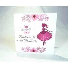 Invitation de Baptême Fille Thème Princesse Rose extérieur