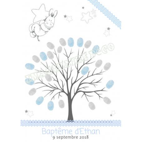 Arbre à Empreintes Paco Baptême Bleu et Gris version 1