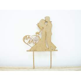 Cake Topper déco Mariés entrelacés en bois
