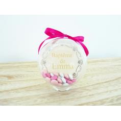 10 Boules de Dragées Baptême Dentelle Fleurs