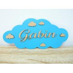 Plaque de Porte garçon thème Nuages en bois Turquoise