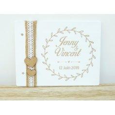 Livre d'Or Mariage Thème champêtre blanc avec jute et dentelle