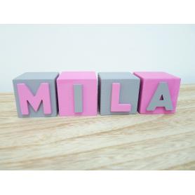 Cube en bois prénom Fille Rose Bonbons et Gris