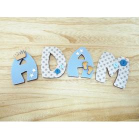 Lettre Alphabet Déco porte Bébé Bleu et Gris Petits Pieds