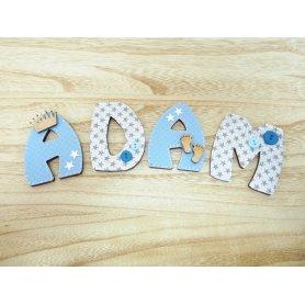 Lettre Alphabet Porte Bleu et Gris Petits Pieds