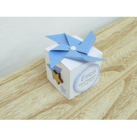 Boite à dragées cubique cadeau Baptême thème étoiles
