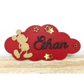 Plaque de Porte Thème Mickey personnalisée avec prénom