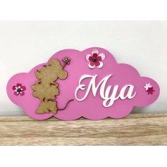 Plaque de Porte en bois Déco Fille thème Minnie