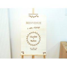 Panneau Bienvenue Mariage en Bois thème Champêtre