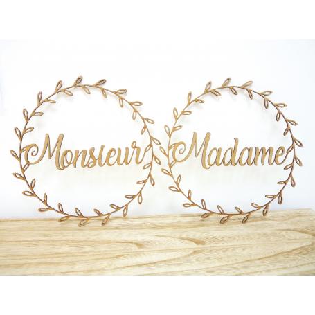 Déco de Chaise Mariage Madame Monsieur en bois