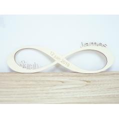 Symbole Infini en bois Mariage avec Prénoms et Date