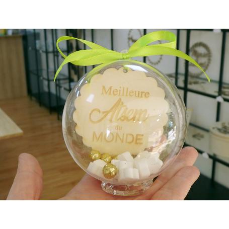 Boule Plexiglass avec Bonbons Cadeau Fin d'Année Ecole Vert Anis