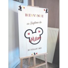 Panneau Bienvenue Baptême en Bois thème Mickey