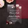 Faire Part de Mariage plexiglas thème Fleurs Rose Rouges