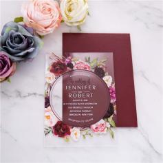 Faire Part de Mariage Acrylique Couronne de Roses
