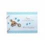 Tirelire de Baptême Bébé Moto Bleu et Blanc