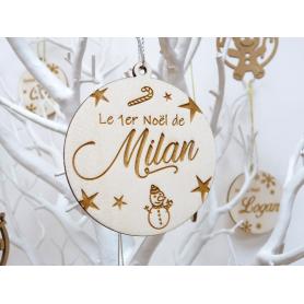 """Boule de Noël Bois """"Mon 1er Noël Bébé"""""""