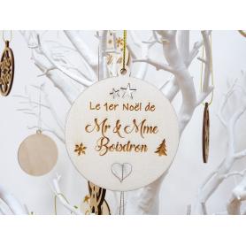 """Boule de Noël Bois Jeunes Mariés """"Madame Monsieur"""""""