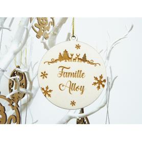 Boule de Noël Bois Nom de Famille