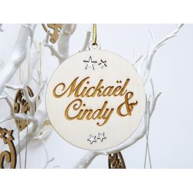 Boule de Noël Bois avec Prénoms Couple