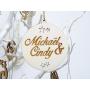 Boule déco de Noël Bois avec Prénoms Couple