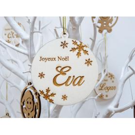 Boule déco de Noël Bois avec Flocons et Prénom