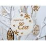 Boule de Noël Bois avec Flocons et Prénom
