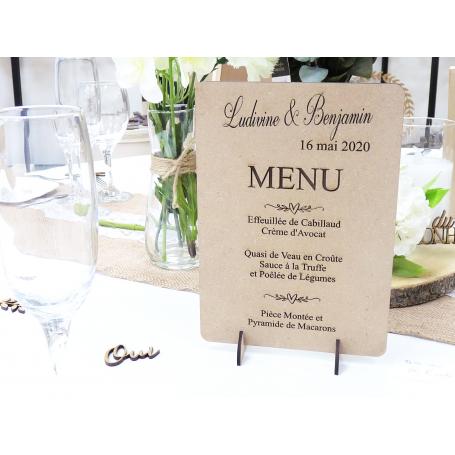 Menu de table personnalisé en bois Mariage