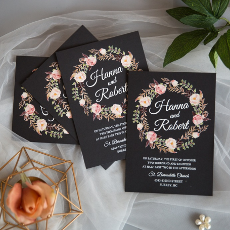 Carte UV Couronne de Fleurs Mariage